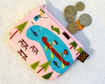 Camp Ladybug Girls Cute Mini Coin Purse Little Zipper Change Purse Fabric Coin Wallet Pink Fishing Camping Canoeing Smores Scouts MTO