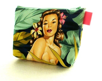 Tropical Mirage Palm Fronds Retro Pin-Up Girl Fabric Gadget Pouch Small Cosmetic Bag Fabric Zipper Pouch Makeup Bag Alexander Henry