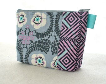 Amy Butler Violette Fabric Gadget Pouch Small Cosmetic Bag Fabric Zipper Pouch Makeup Bag Floral Zinc Gray Lavender Purple Turquoise MTO