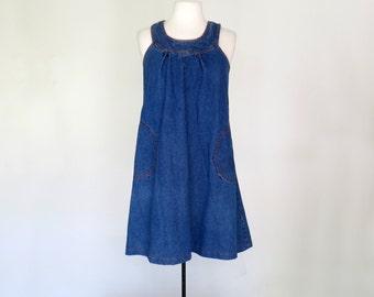 MOOD INDIGO // 1970s blue jean dress / L