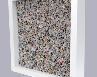 colorful WHITE square shadowbox wall art - made from recycled magazines, blue, green, red, purple, pink, yellow, orange, modern, texture