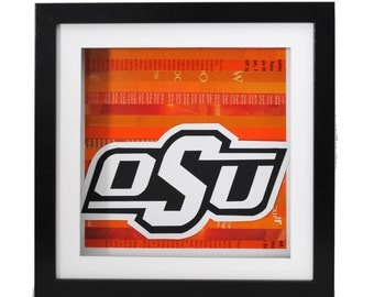 OSU logo, Officially licensed Oklahoma State University, art- made from recycled magazines, Cowboys, Pistol Pete, Oklahoma, Black &Orange