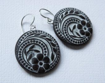 Vintage Design Polymer Clay Earrings- dangle disk earrings-button mold earrings