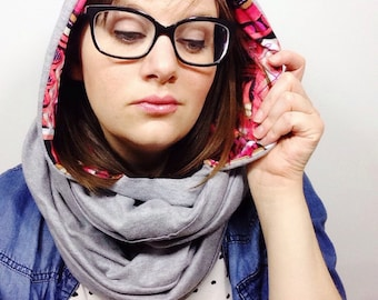 Pink and Grey Hooded Circle Scarf // Spring Fashion Scarf