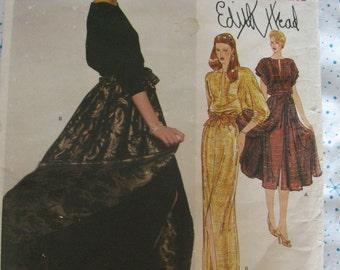 Vintage Uncut 1970s VOGUE Edith Head Designer Evening Dress with Overskirt Pattern 2221 size 14