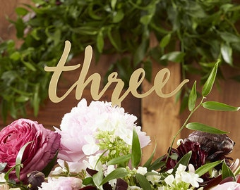 Gold Calligraphy Table Numbers reception decor bridal shower, wedding, Birthday decor
