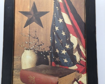 Patriotic Wall Decor,God And Country,Americana,Billy Jacobs,Flag,Bible,Distressed Handmade Frame,141/2x201/2