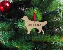 Golden Retriever Silhouette Wood Ornament, Christmas Gift, Holiday Gift, Custom Engraved, Dog Pet Ornament