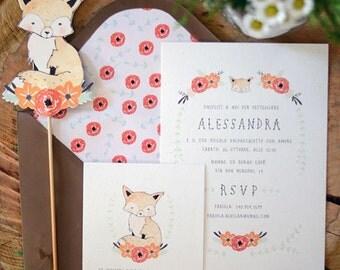 Baby Fox Invitation