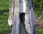 Artsy Upcycled Long Lace Sweater Coat Earthy Moss Natural Colors      Medium / Large