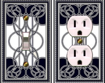 0419b- COMBO of 2 Art Deco Beardsley Black & White -  Mrs Butler Light Switches plates (can be purchased separately)