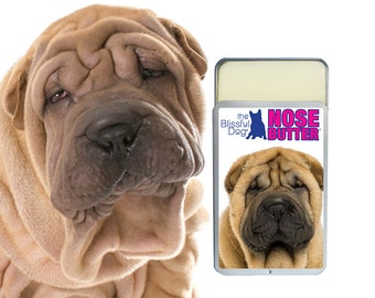 Chinese Shar-pei NOSE BUTTER® All Natural, Handcrafted Moisturizing Balm for Dry Crusty Dog Noses 1.25 oz Slide Top Tin with SharPei Label