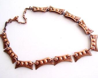 Vintage MATISSE Necklace, Modernist Copper Enamel Necklace, Vintage Swag Necklace, Copper Choker, Collar Necklace, Matisse Renoir Jewelry
