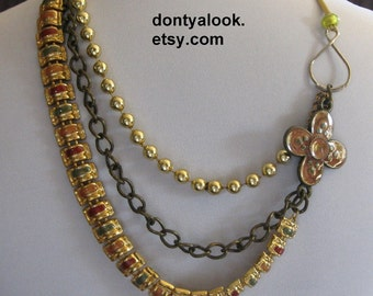 Rust Mustard Green Gold Multi Strand Necklace #12