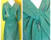 RARE Vintage 1950s GREEN Chromespun Silver Threaded Lurex Cocktail Wiggle Dress