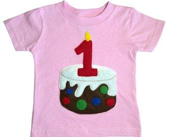 Kids Birthday Shirt - Age Number Candle on a Birthday Cake - Custom Made Kids Shirt - 5th 4th 3rd 2nd 1st Birthday T- Shirt