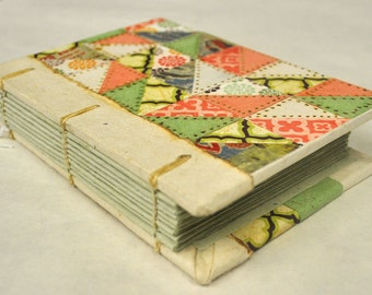 Green & Pink Coptic Stitch Mini Sketch Journal