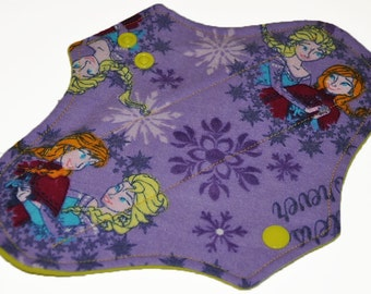 Light Core- Frozen Sister Flannel Reusable Cloth Pantyliner Pad- WindPro Fleece- 8.5 Inches