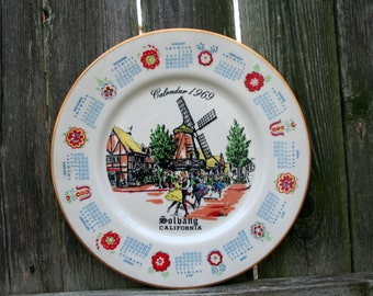 Vintage Rare  Solbang, California Calendar Plate