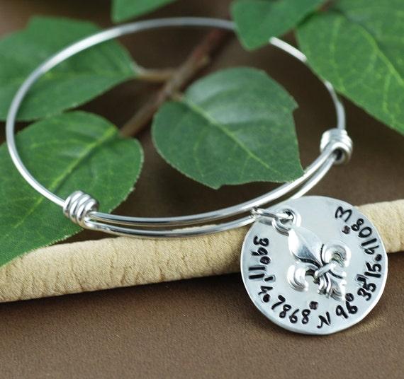 Coordinates Bracelet, Fleur De Lis Bangle, Longitude Latitude Charm Bracelet, Silver Bangle Charm Bracelet, Coordinates Bangle Jewelry