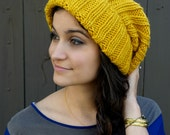 Slouchy Beanie Textured Knit Hat Winter Hat Women's Hat Gifts for Her Handmade Everyday Beanie Mustard Yellow or Choose Your color