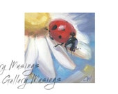 Ladybug Painting, Cute 4x4 inch painting on an archival panel, Garden Art