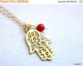 SPRING Sale Hamsa Necklace , Gold Hamsa, Filigree Hand Charm , Red Coral  , Gold Fill , Hamsa Jewelry , Eveil Eye