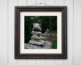 Nature Photography, Cairn, Woodland Photography, Cairn Print, Green, Hudson Valley, Hudson Valley Photography, New York Art, Square Print