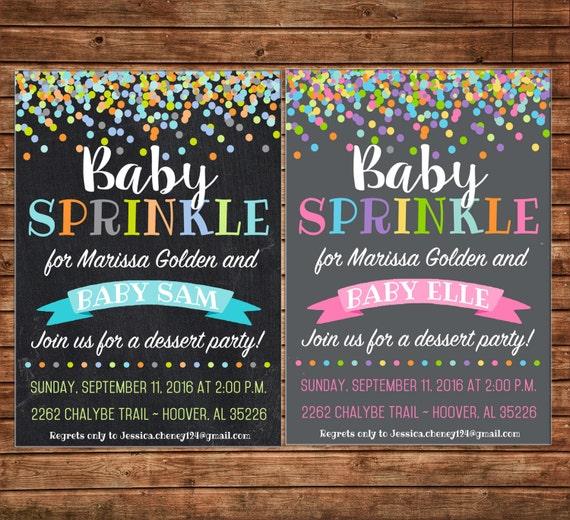 Boy or Girl Baby Sprinkle Dessert Bridal Wedding Tea Shower Party Birthday Invitation - DIGITAL FILE