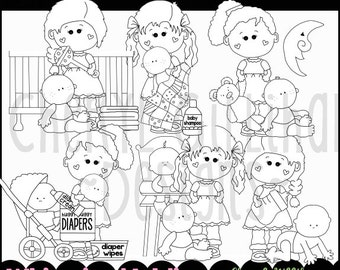 Hannah and Pals with Babies Digital Stamps - Immediate Download