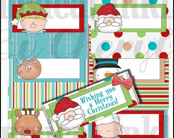 Happy Holiday Faces Candy Bar Wrappers, set of 6  - Digital Printable - Immediate Download