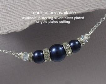 Navy Pearl Necklace, Navy Bridesmaid Necklace, Swarovski Night Blue Navy Necklace, Bridesmaid Navy Pearl Necklace, Bridesmaid Gift Necklace
