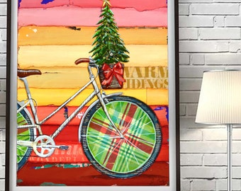 Go Christmas Tree - Bicycle Bike with Basket  ART PRINT or CANVAS seasonal Cycling holiday decorations poster wall home decor, All Sizes