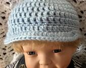 Blue baby hat with brim