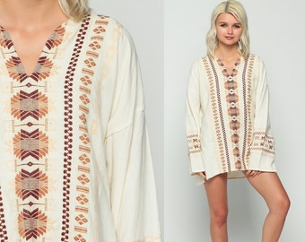 Embroidered Shirt Tunic Top Mexican Blouse COTTON Ethnic 70s Hippie Tribal Dashiki Boho Wide Sleeve AZTEC Bohemian Cream Small