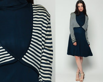 Striped Dress Mod 60s Mini ATTACHED JACKET Turtleneck Navy Blue White Vintage 70s Shift High Collar Twiggy Long Sleeve Knee Length Large xl
