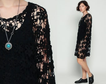 Black Crochet Dress Sheer Knit Boho Hippie CUTWORK 90s Mini Cut Out 1990s Beach Cover Up Festival Bohemian Chic Gothic Large