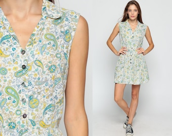 60s Day Dress Mini PAISLEY Print Boho 1960s High Waisted Cotton Button Up Mod Vintage Sleeveless Psychedelic Blue White Yellow Small Medium