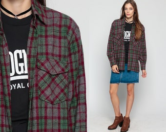 Wool Plaid Shirt 70s Grey Flannel Button Up GRUNGE 80s Red Green Long Sleeve Checkered 1970s Oversize Boyfriend Large