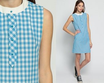 60s Mod Mini Dress Gingham Shift Checkered Print Twiggy Button Up 1960s Vintage Sixties POCKET Sleeveless Minidress Baby Blue White Medium