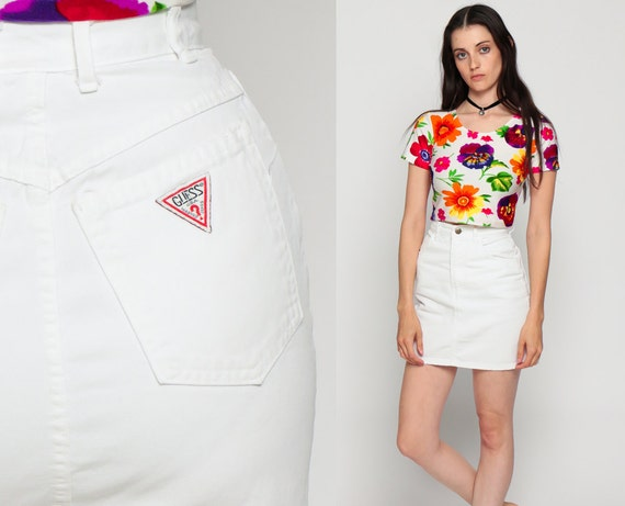 White Denim Skirt GUESS Jean Skirt Mini Skirt Pencil Skirt