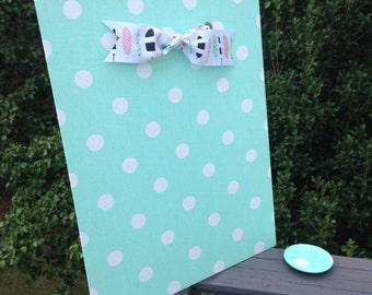 Magnetic Board, Mint Nursery Decor, Mint Bedroom Bulletin Board, Magnet Board, Mint Dot Organize, Message Board, Command Center