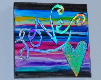 Love Abstract Handpainted Original Multicolored Acrylic Painting on Wood Frame 5.5 inch Beautiful Colors Heather Montgomery Art