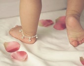 TWO Sterling Silver Jingle Bells Anklets for Baby