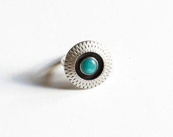 Amaya ring - blue amazonite and recycled sterling silver round boho tribal geometric embellished cocktail ring