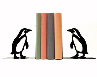Penguin Metal Art Bookends - Free USA Shipping
