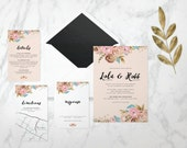 The 'Cassandra' Wedding Invitation; Wildflower, Floral, Rustic Invitation, Romantic, Outdoor Wedding, Vintage Wedding, Flowers, Printable