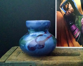 Small Blue Vase Vintage Glazed Pottery Bohemian Minimalist Decor