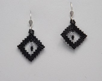Black Peyote Stitch Beaded Earrings with Swarovski Crystal in Center Sku: ER1018
