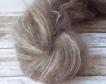 Hand Dyed Mohair Yarn, Brushed Mohair Yarn, Hand Painted Yarn, Lace Yarn, Fuzzy Yarn, Knitting Yarn, Baby Prop Yarn,  Koala